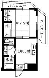 東京都足立区六木1丁目の賃貸マンションの間取り