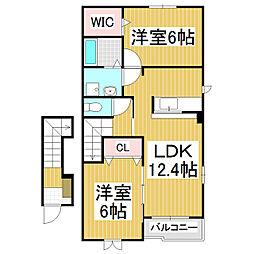 JR中央本線 上諏訪駅 徒歩21分の賃貸アパート 2階2LDKの間取り