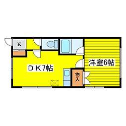 北海道札幌市東区北二十一条東12丁目の賃貸アパートの間取り