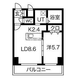 新築レゾ札幌 9階1LDKの間取り