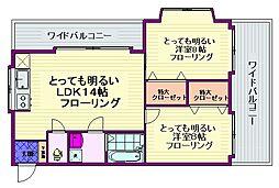 都営三田線 西巣鴨駅 徒歩6分の賃貸マンション 2階2LDKの間取り