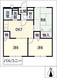 エステートKakeda C[2階]の間取り
