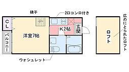 ピュア姪浜東[103号室]の間取り