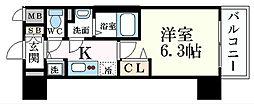 JR東海道・山陽本線 元町駅 徒歩8分の賃貸マンション 10階1Kの間取り