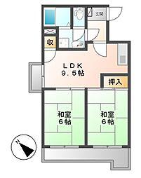 アルル覚王山[3階]の間取り