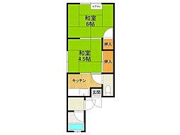 南ひばり文化住宅[1階]の間取り