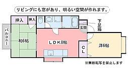 福岡県福岡市早良区小田部5丁目の賃貸アパートの間取り