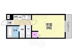 JR山陰本線 二条駅 徒歩18分の賃貸マンション 4階1Kの間取り