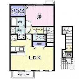 埼玉県熊谷市高柳の賃貸アパートの間取り