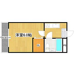 福岡県福岡市中央区赤坂3丁目の賃貸マンションの間取り