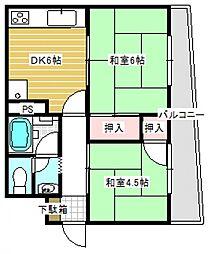 橋本コーポラス[7階]の間取り