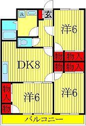 セナリオコート増尾イーストB[3階]の間取り