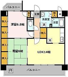 愛知県名古屋市守山区喜多山南の賃貸アパートの間取り