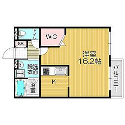 Osaka Metro谷町線 大日駅 徒歩12分の賃貸アパート 2階ワンルームの間取り
