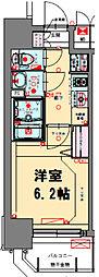 プレサンス梅田北アーリー 7階1Kの間取り
