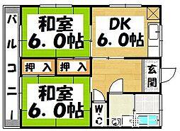 福岡県太宰府市白川の賃貸アパートの間取り