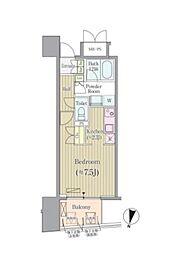 東京メトロ南北線 市ヶ谷駅 徒歩4分の賃貸マンション 8階1Kの間取り