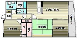 シャルマン和泉[5階]の間取り