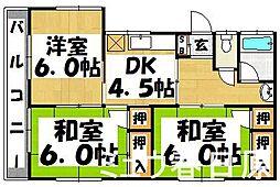 福岡県春日市須玖南7丁目の賃貸アパートの間取り
