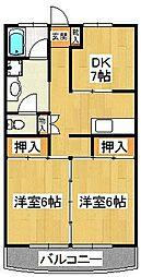 手塚グリーンハイツ[201号室]の間取り