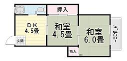 大阪府堺市西区浜寺船尾町西1丁の賃貸マンションの間取り