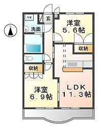愛知県北名古屋市熊之庄十二社の賃貸アパートの間取り