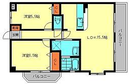 福岡県春日市惣利1丁目の賃貸マンションの間取り