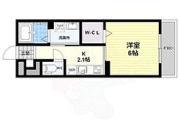 DハイムSAGA 3階ワンルームの間取り