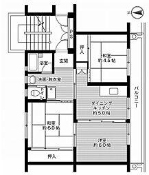 ビレッジハウス横手2号棟 5階2LDKの間取り