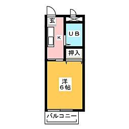 ジュネス上倉田 2階1Kの間取り