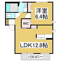ドエルあずみの A 2階1LDKの間取り