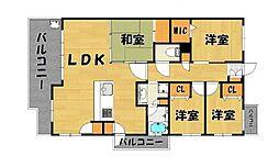 福岡市地下鉄空港線 博多駅 徒歩14分の賃貸マンション 3階4LDKの間取り