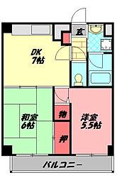 アティーナ守口 13階2DKの間取り
