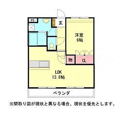 愛知県小牧市大字間々原新田の賃貸アパートの間取り