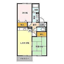 福岡県北九州市八幡西区木屋瀬5丁目の賃貸アパートの間取り