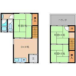 奈良県香芝市逢坂の賃貸アパートの間取り