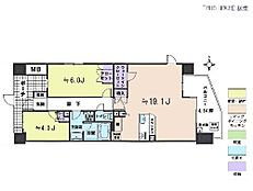 2LDK・専有面積64.1平米・バルコニー面積13.7平米