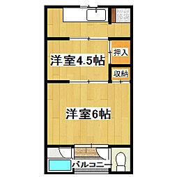 京都府京都市伏見区横大路下三栖南郷の賃貸アパートの間取り