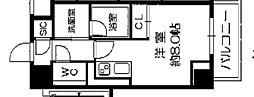 Osaka Metro長堀鶴見緑地線 西長堀駅 徒歩3分の賃貸マンション 2階ワンルームの間取り