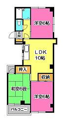 埼玉県所沢市小手指南1丁目の賃貸マンションの間取り