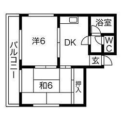 プレアール駒川II[407号室]の間取り