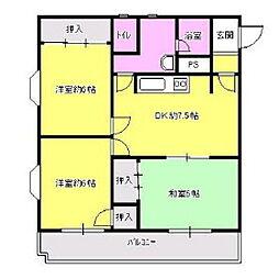 福岡県久留米市宮ノ陣の賃貸マンションの間取り