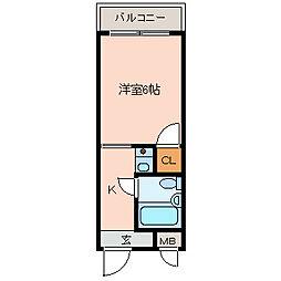 高安一番館[4階]の間取り