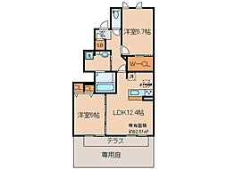 近鉄京都線 大久保駅 バス20分 まちの駅イオン久御山店前下車 徒歩4分の賃貸アパート 1階2LDKの間取り