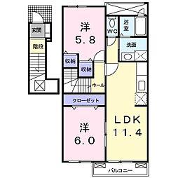 ソレイユ美咲ヒルズ2[2階]の間取り
