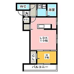 仮)D-room加納徳川町Y 2階1LDKの間取り