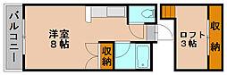 福岡県福岡市博多区板付3丁目の賃貸アパートの間取り