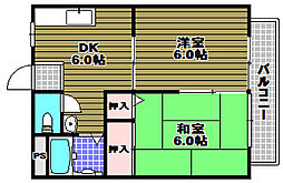 コーポ金剛グリーンタウン[2階]の間取り