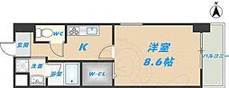 スタシオン俊徳道 4階1Kの間取り