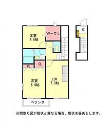 愛知県小牧市掛割町の賃貸アパートの間取り